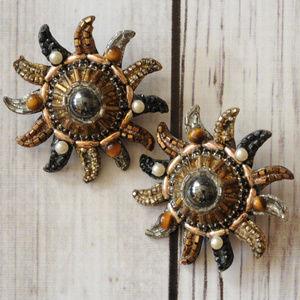 huge vintage sun clip earrings sunburst starburst